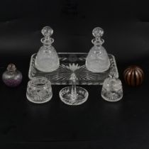 Glass dressing table set, scent bottle and paperweight.