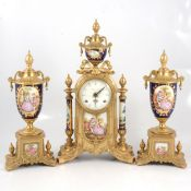 Reproduction French mantle clock garniture,