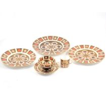 Royal Crown Derby 'Imari' pattern plates, trio, hexagonal vase and lid.