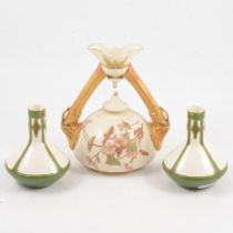 Royal Worcester twin-handled vase, and a pair of Villeroy & Boch vases