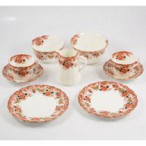 Imari pattern part tea service, plus large plate and oval platter.