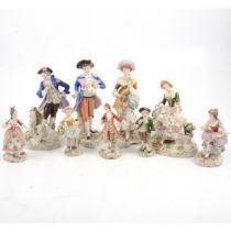 Nine Sitzendorf figures