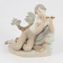 Lladro figure of a boy flautist