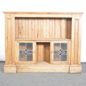Pine cupboard with glass doors