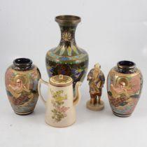 A Satsuma lidded pot and other oriental wares