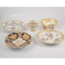 Samson style armorial dish, and other Continental dishes and similar vase and cover