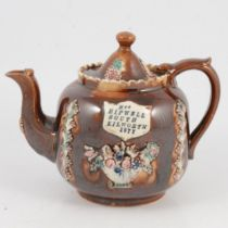 A Victorian barge ware teapot