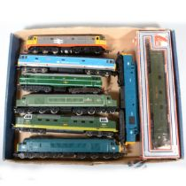 Eight OO gauge model railway diesel locomotives