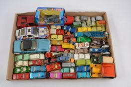 One box of loose die-cast models, mostly Matchbox and Husky.