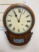 A Victorian mahogany drop-dial wall clock, 28cm dial, timepiece movement