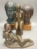 Five bronzed plaster and resin figures / busts, seated lady 39cm