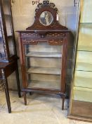 An Edwardian painted mahogany mirror back display cabinet, width 69cm, depth 33cm, height 152cm