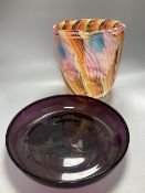 A Murano scrambled glass vase, height 25.5cm and an amethyst tinted shallow glass bowl, diameter