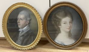 19th century English School, two pastels, Portraits of a lady and gentleman, 32 x 26cm