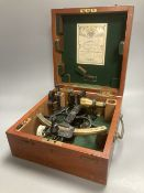 "A cased ""Husun"" sextant by Henry Hughes & Son Ltd, no 44889, test certificate dated Nov. '44"