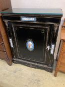 A late Victorian gilt metal and porcelain mounted ebonised pier cabinet, width 84cm, depth 38cm,