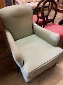 An Edwardian upholstered armchair, width 71cm, height 80cm