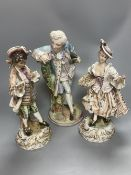 A pair of Wessel Frankenthal figures, 26cm, and a French bisque gallant, 29cm