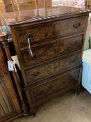 A Queen Anne Revival walnut four drawer chest, width 62cm, depth 42cm, height 100cm
