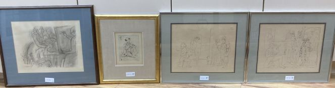 Henry Matisse, monochrome print, Artist and model, overall 29 x 36cm, a pair of prints after Picasso