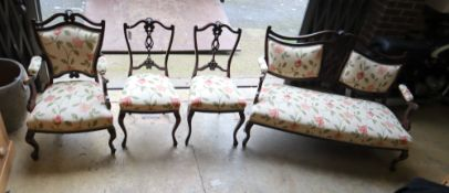 A late Victorian upholstered four piece salon suite, settee 133cm wide, 87cm high