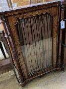 A Victorian marquetry inlaid figured walnut music cabinet, width 63cm, depth 42cm, height 84cm