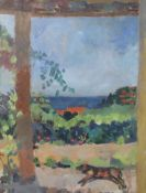 § Peter Spens (20th C.)oil on boardThe Terrace at La Ramade initialled, signed verso and dated