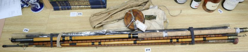 A Hardy's three-section split-cane fishing rod, in Hardy canvas case, one other three-section rods