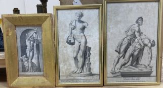 Three Old Master engravings, Studies of statuary, largest 34 x 21cm