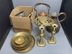 Miscellaneous metalware, including a copper kettle, two pairs of brass candlesticks, a 'squirrel'