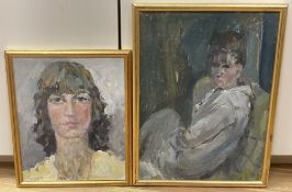 Frank Dobson (1888-1963), two oils on board, Study of a seated woman and Head study, 40 x 29cm and