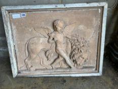 After John Flaxman - a plaster classical plaque (damaged), 68 x 53cm