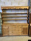 A modern Victorian style pine dresser, width 178cm, depth 38cm, height 195cm