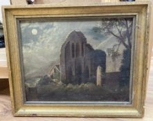 G.Sephton (19th C.) oil on board, Moonlit ruins, signed and dated 1877, 23 x 29cm.