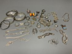 Assorted mainly silver jewellery including bangles, bracelets including charm, necklaces,