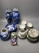Two Chinese blue and white baluster jars and covers, a ginger jar, a bowl, etc., all early 20th