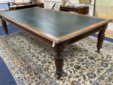 A Victorian mahogany boardroom / reading table, length 306cm, depth 52cm, height 77cm