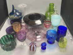 A collection of 18th, 19th and 20th century coloured and clear glassware, including two amethyst