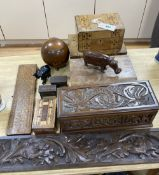 Three inlaid wooden boxes, a carved oak box, two cribbage boards and sundry treen, 19th/20th