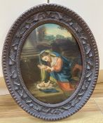 Italian School (19th century), study of the Madonna and Child, oval, 21 x 16cm, in carved wood