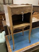 A French marquetry inlaid kingwood bedside cabinet, width 37cm, depth 30cm, height 74cm