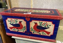 A painted pine box, width 63cm, depth 31cm, height 30cm