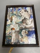 A Continental ceramic tin glazed pottery tile, painted with a young family, unsigned, 29 x 21cm