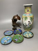 A Chinese famille rose vase, a spelter figure of Liu Hai, 17cm and five cloisonne dishes