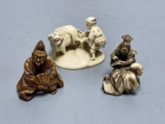 Three Japanese ivory netsuke, Meiji period, all signed