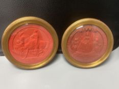 Two mid 19th century Great Seals of Queen Victoria, relief designs in red wax, later framed