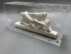 Edouardo Paolozzi (1924-2005), a plaster group, Grasshoppers, length 26cm excl. perspex case