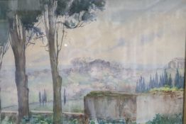 Alice K H Weld, watercolour, Italianate vista, signed