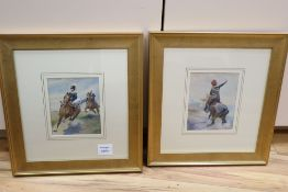 George Clark (1832-1894), pair watercolours, Hussars on horseback, signed