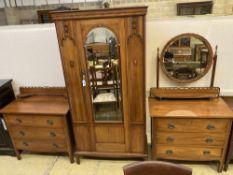 An Edwardian satin walnut three piece bedroom suite, wardrobe width 96cm, depth 43cm, height 196cm